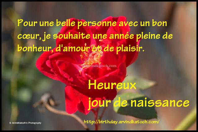 de carte,  jour de naissance, anniversaire, personne spéciale, bon cœur, French, Birthday Card
