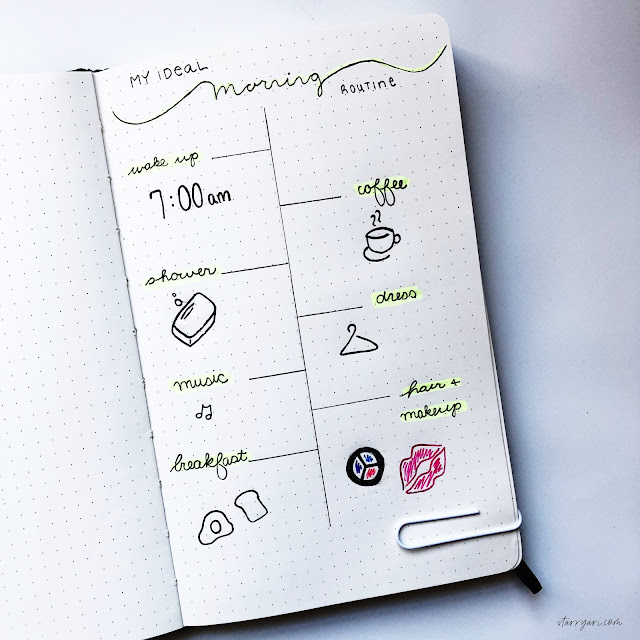 morning routine bullet journal layout