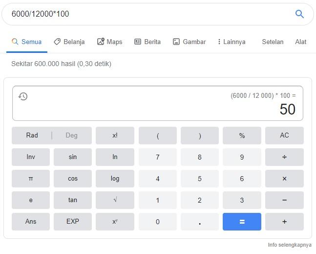 Fitur kalkulator yang disediakan Google