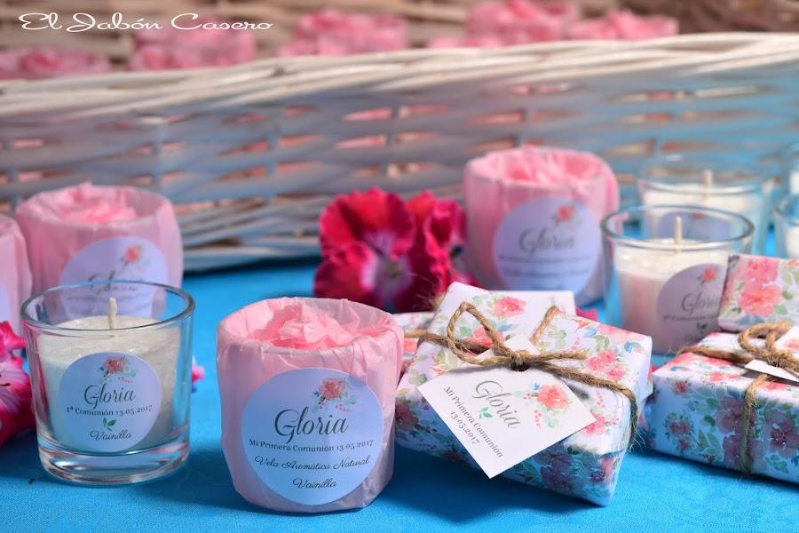 Detalles para comuniones velas y jabones naturales personalizados