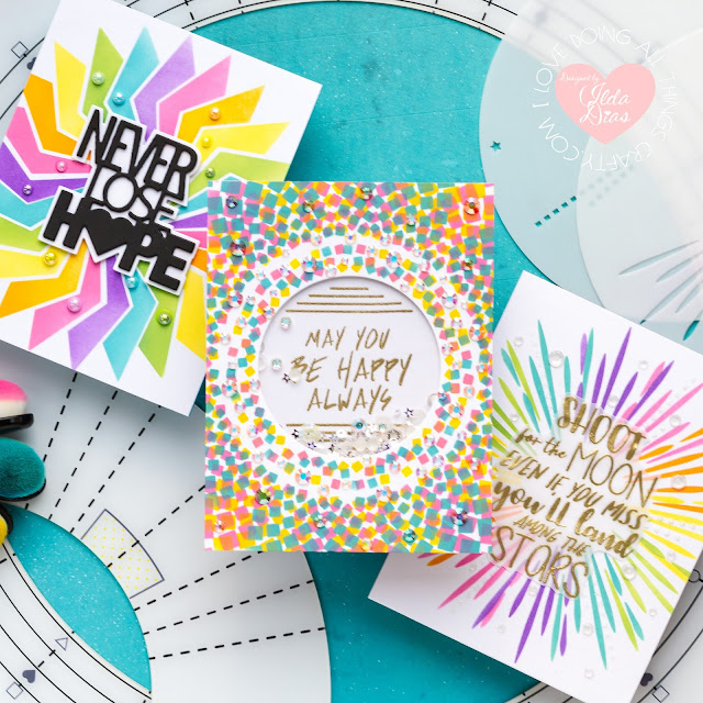 Stencils 360°™, Starter Kit, Penguin Palace,Encouragement Rainbow Cards,Blog Hop,Card Making,Stamping, Die Cutting,handmade card, ilovedoingallthingscrafty, Stamps,distress oxide inks,Ink Blending,