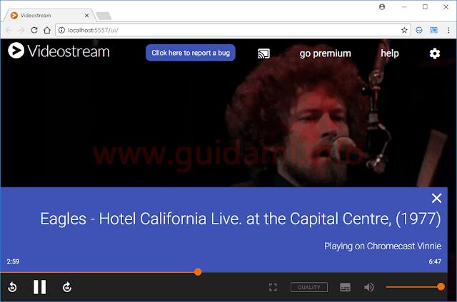 Videostream schermata gestione file trasmessi a Chromecast