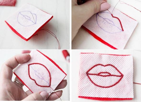 broche labios, mostacillas, aplique labios, pin, manualidades enrhedando