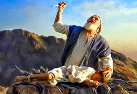 A imagem mostra uma ilustração de Abraão em uma cena bem conhecida onde ele sacrificaria o seu filho a pedido de Deus. olhando aos céus.