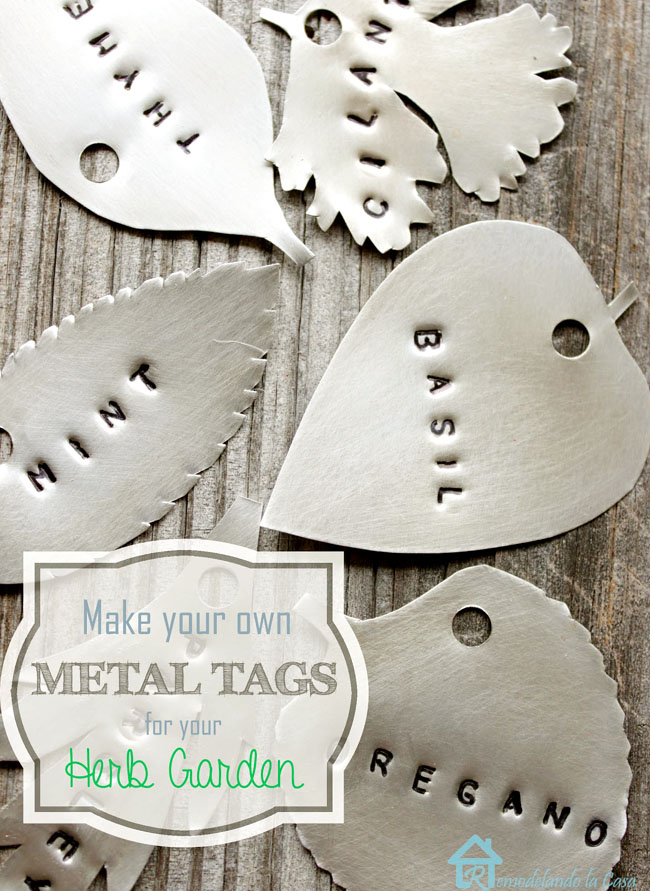 metal tags in the form of herb leaves