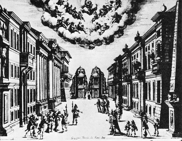 Set design by Torelli for 'La finta pazza', 1645, Paris