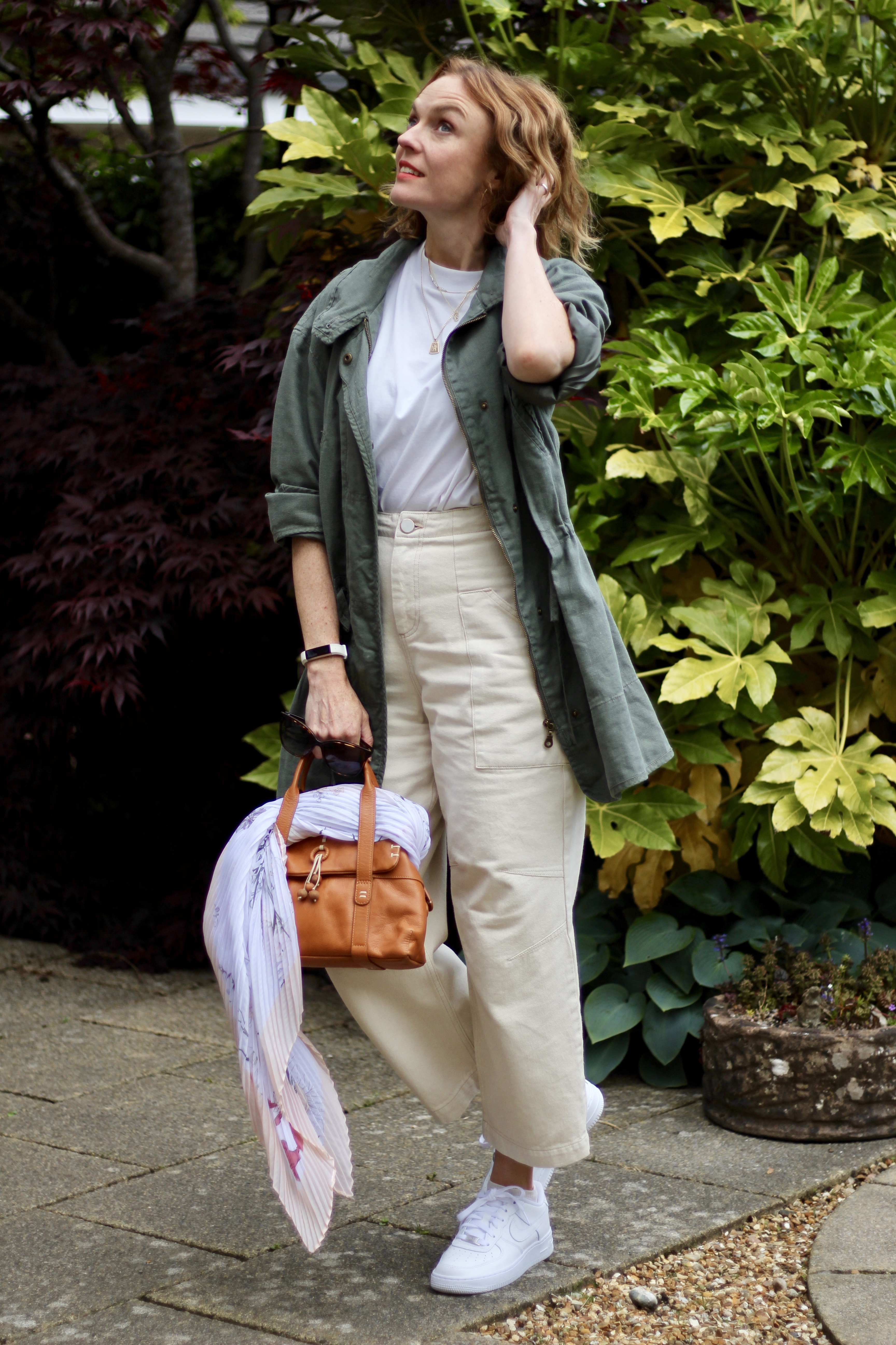 Cream Jeans, White Tee and a Khaki Coat | Fake Fabulous