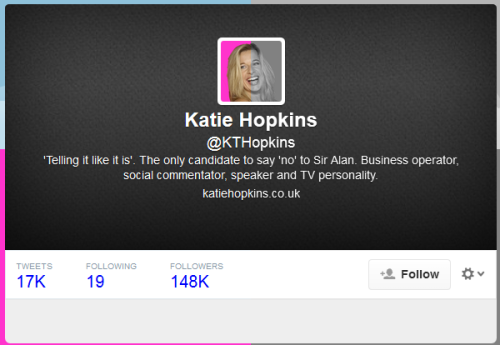 Katie Hopkins' twitter profile