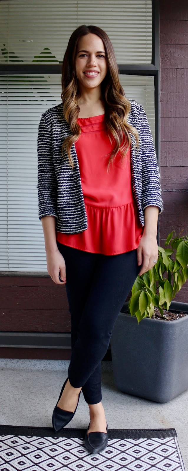 Jules in Flats - Peplum Blouse with Striped Blazer/Jacket
