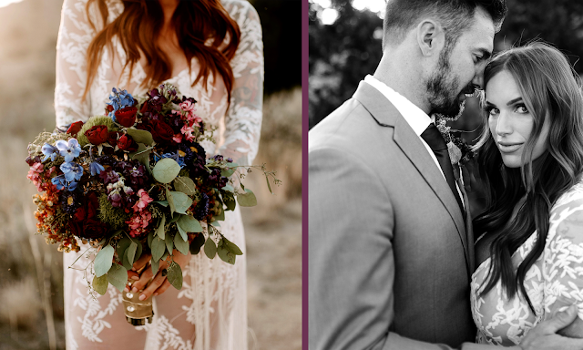 outdoor wedding bride and groom colorful bouquet lace dress