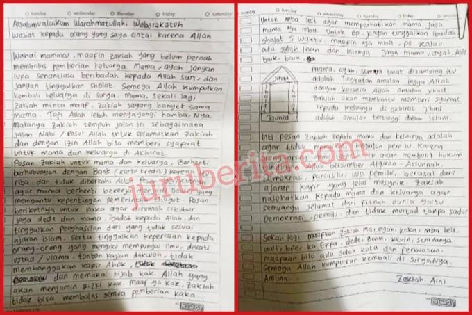 Surat Wasiat Zakiah Aini Penyerang Mabes Polri