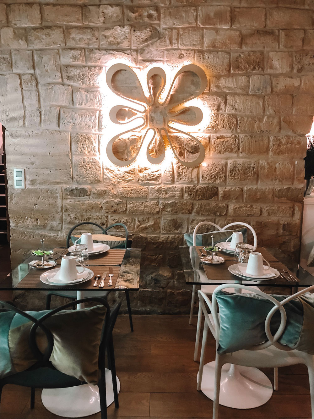 Hotel Chavanel's breakfast room is located in a stone cellar