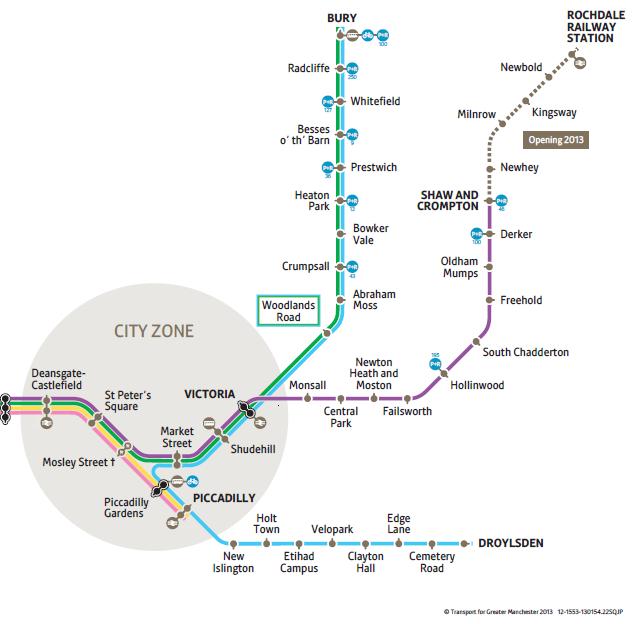 Manchester Metrolink - Droylsden Line Map