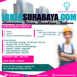Lowongan Kerja Surabaya Terbaru di Arumbia Creative Corner Juni 2019