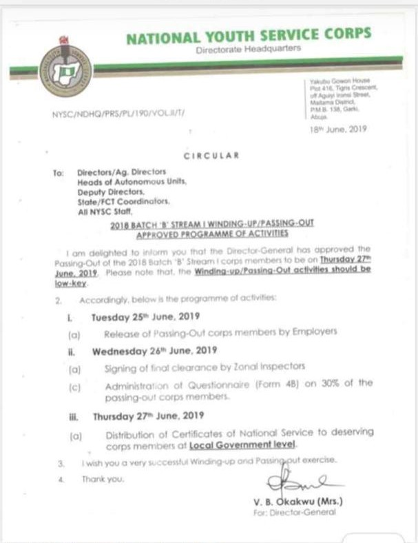 Just in: NYSC officially announces 27th June 2019 as 2018 Batch B Stream 1 POP