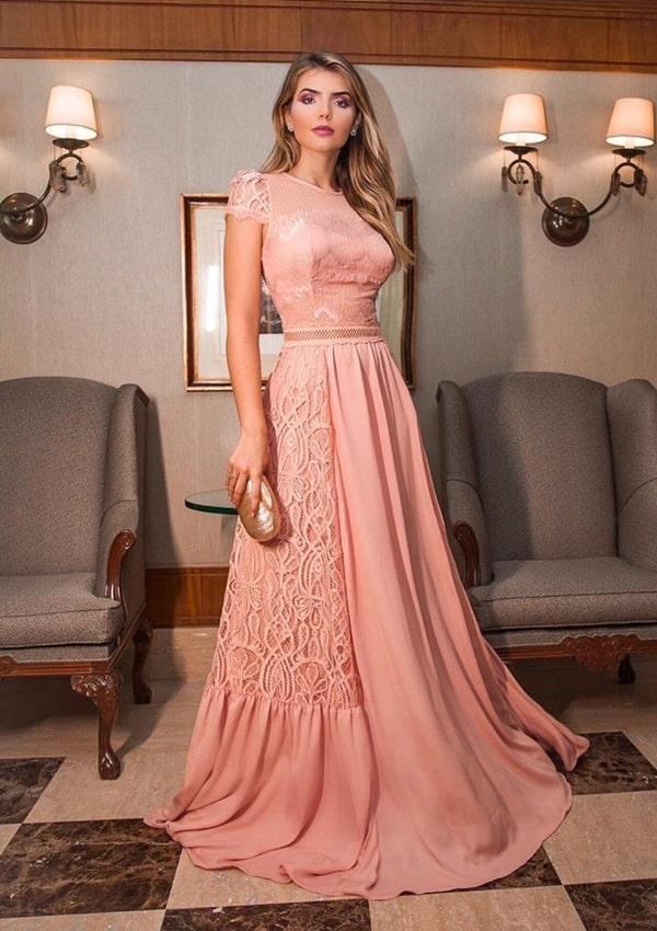 vestido de festa longo rose rendado com manguinha curta
