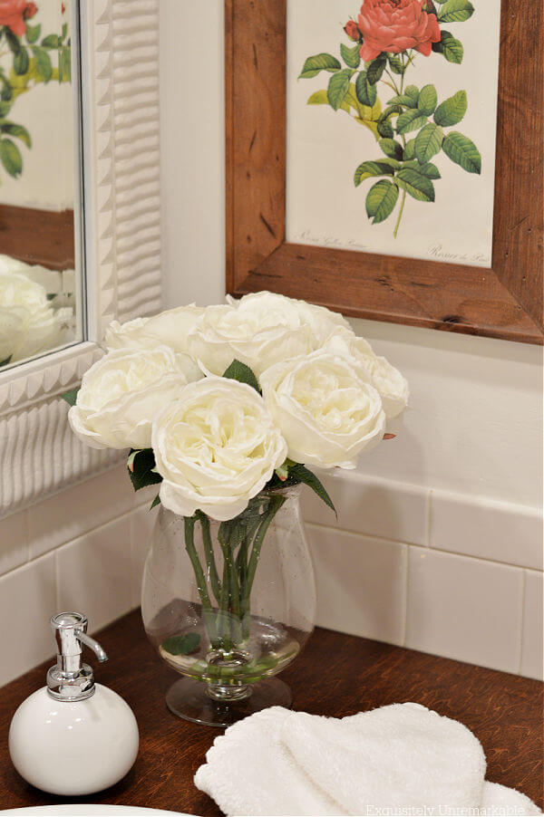 Cottage Style Bathroom Decor, Roses, Soap Dispenser and Wash Towel In Red and Whites