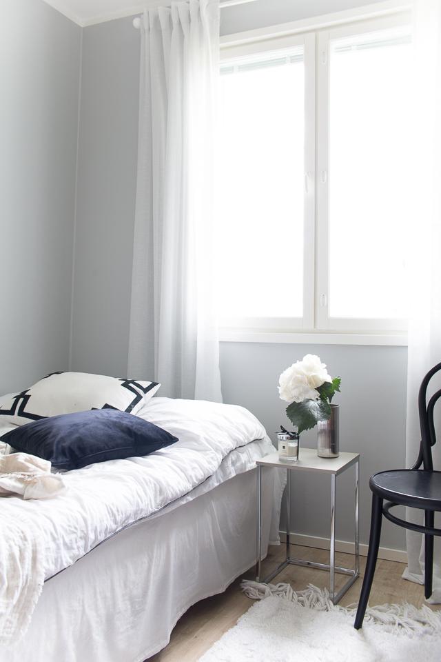 Villa H, makuuhuone, sisustus, hortensia