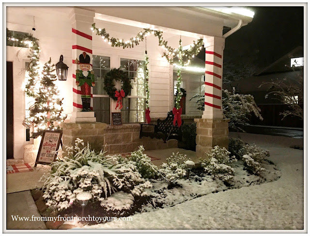 Christmas Front Porch Decorations-Porch Swing-Nutcracker-Christmas Tree-Christmas Lights-Snow-Farmhouse-Farmhouse Porch-From My Front Porch To Yours