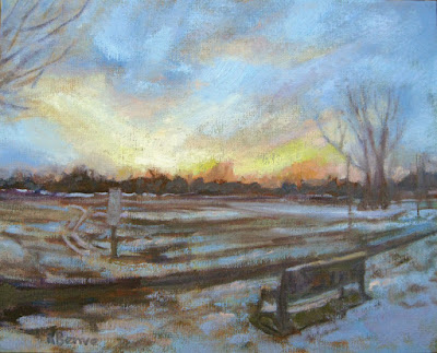Winter landscape with Snow Painting by Robie Benve