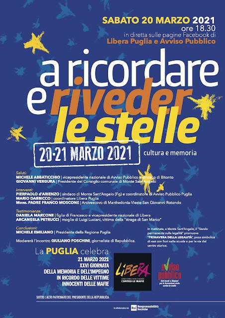 """La Puglia celebra la """"Giornata della memoria e dell'impegno in ricordo delle vittime innocenti delle mafie"""" promossa da Libera e Avviso Pubblico"""