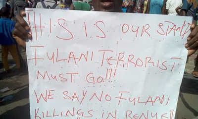 Benue State youths protest continuous killings by Fulani herdsmen
