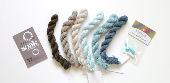 Six mini-hanks of yarn, a sample packet of Soak wool wash, and knitting needle point protectors on a white background.