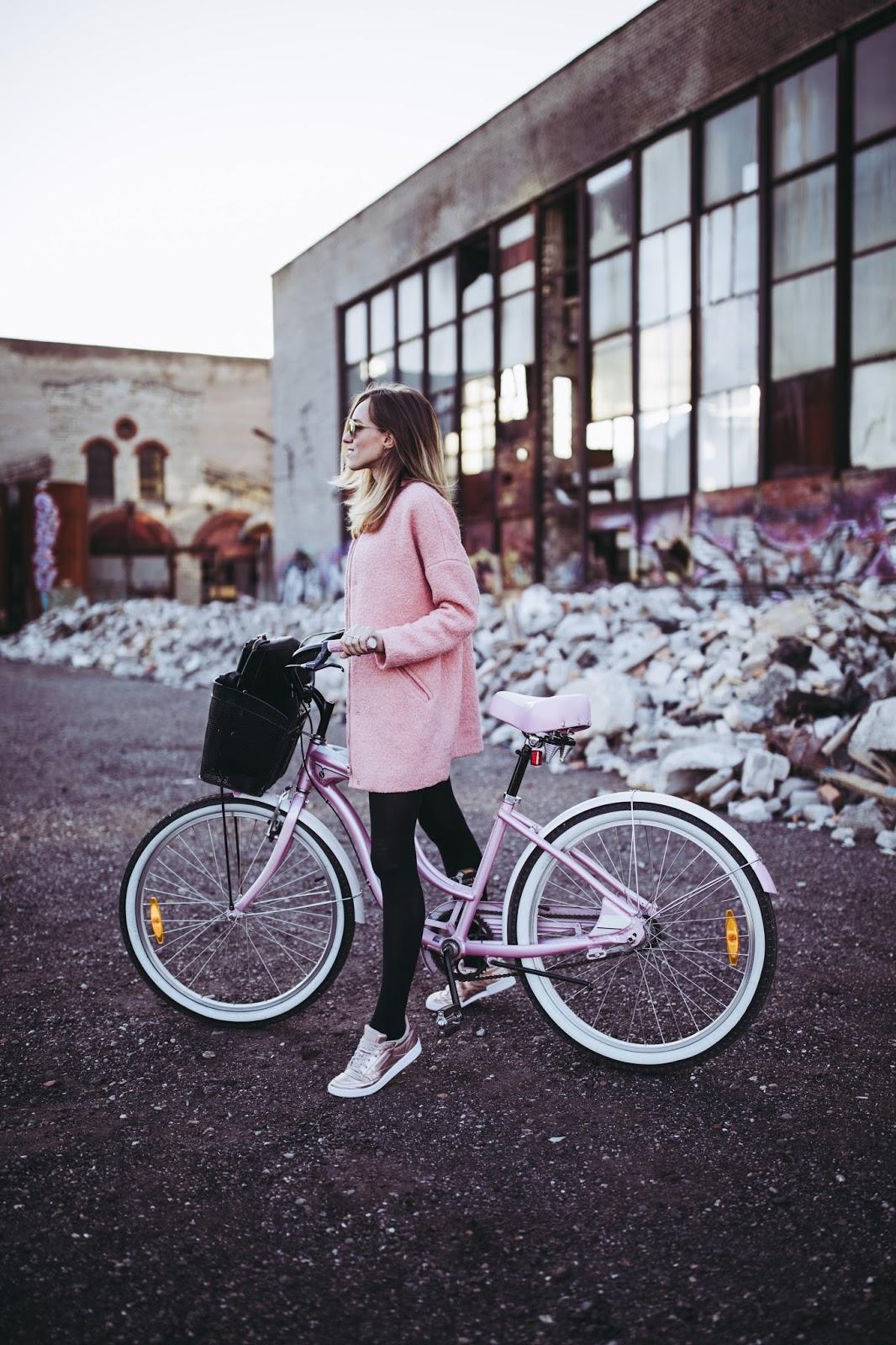 pink coat metallic sneakers