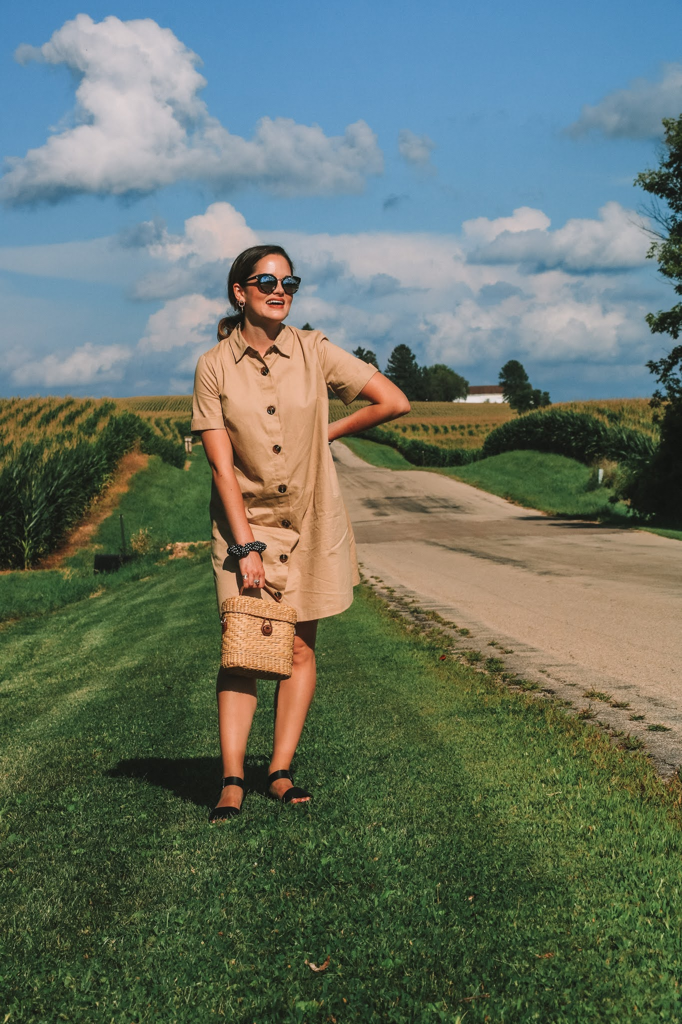 Fashion blogger Kathleen Harper doing a rural photo shoot in the cornfields of Illinois.