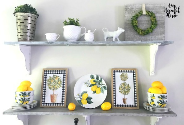 whitewashed farmhouse shelves lemon plates bowls topiary art