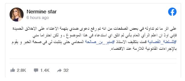 قضية بتهمة الاعتداء على الأخلاق الحميدة .. نرمين صفر توضّح