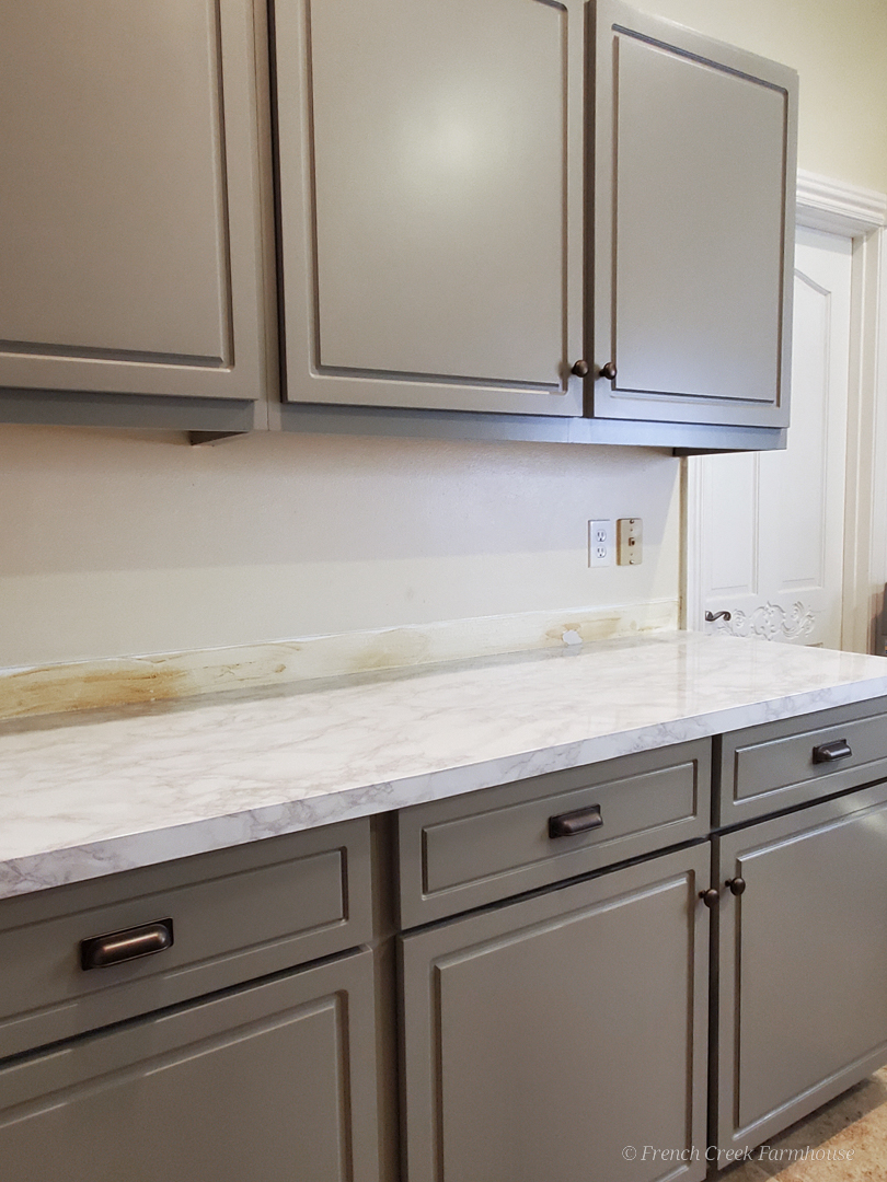 Our faux countertops that look like real marble