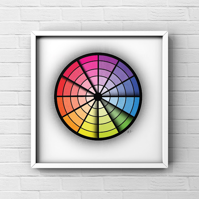 Split complementary colour wheel art by Mark Taylor