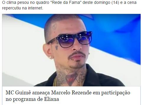 MC Guimê ameaça Marcelo Rezende no programa da Eliana