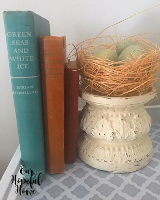 spring nest aqua speckled birds eggs shabby chic vintage books