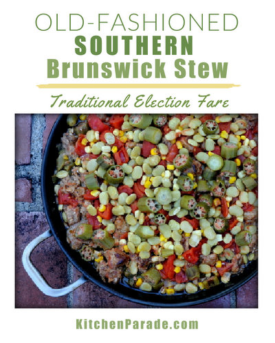 Old-Fashioned Southern Brunswick Stew, another healthy recipe ♥ KitchenParade.com, an old southern tradition for election gatherings, layers of different meats and favorite southern vegetables like corn, okra and lima beans.