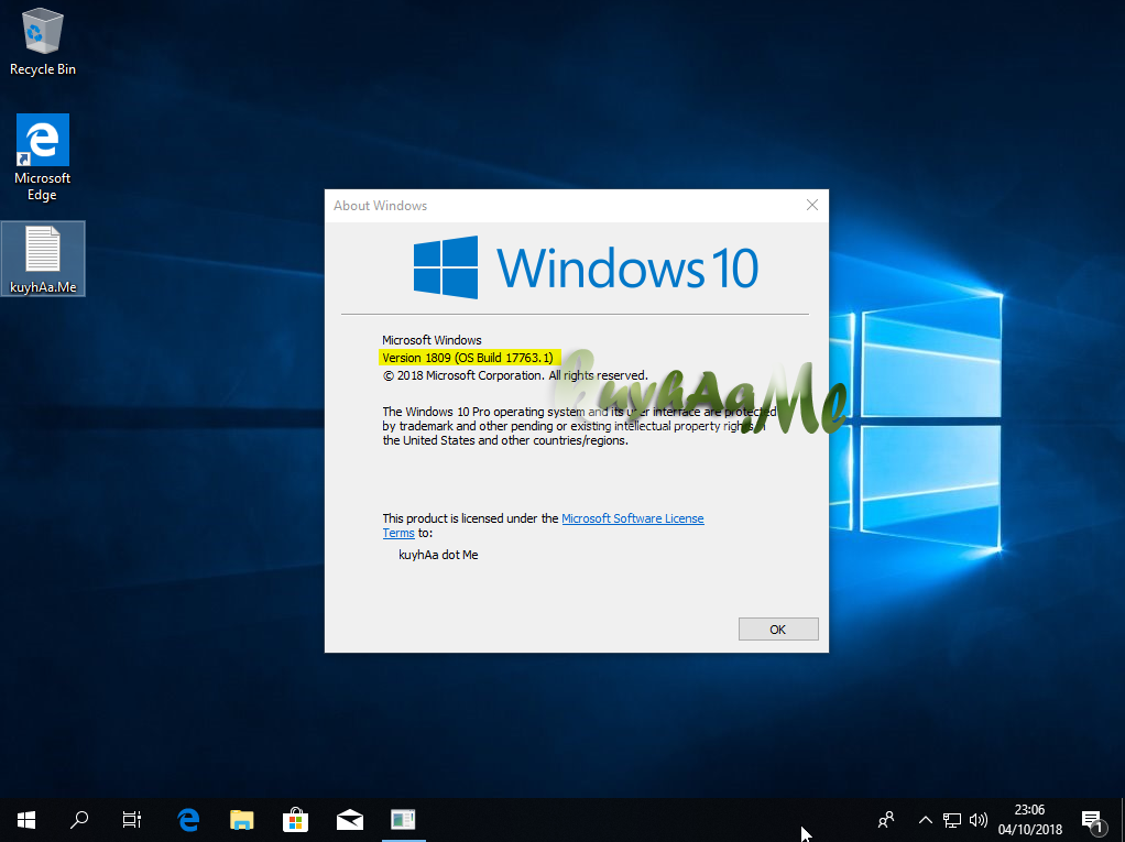 Microsoft Windows 10 Business Editions 1809 MSDN kuyhaa