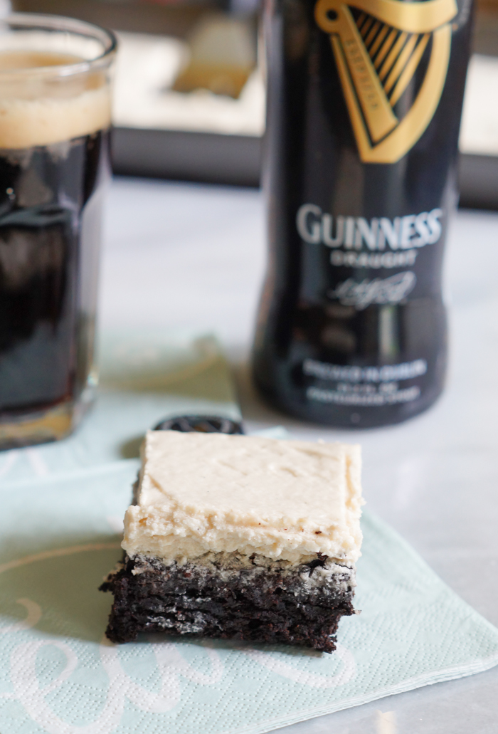 Guinness-Vanilla Bean Frosted Mocha Brownies