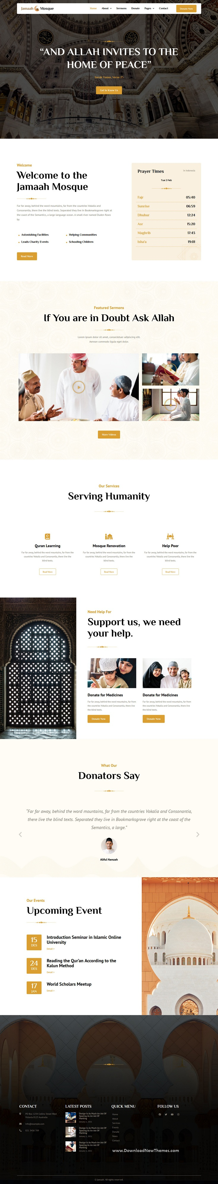 Mosque and Islamic Center Elementor Template Kit