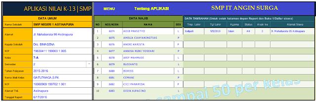 Aplikasi Penilian Kurikulum 2013 SMP   Aplikasi Excel Terbaru
