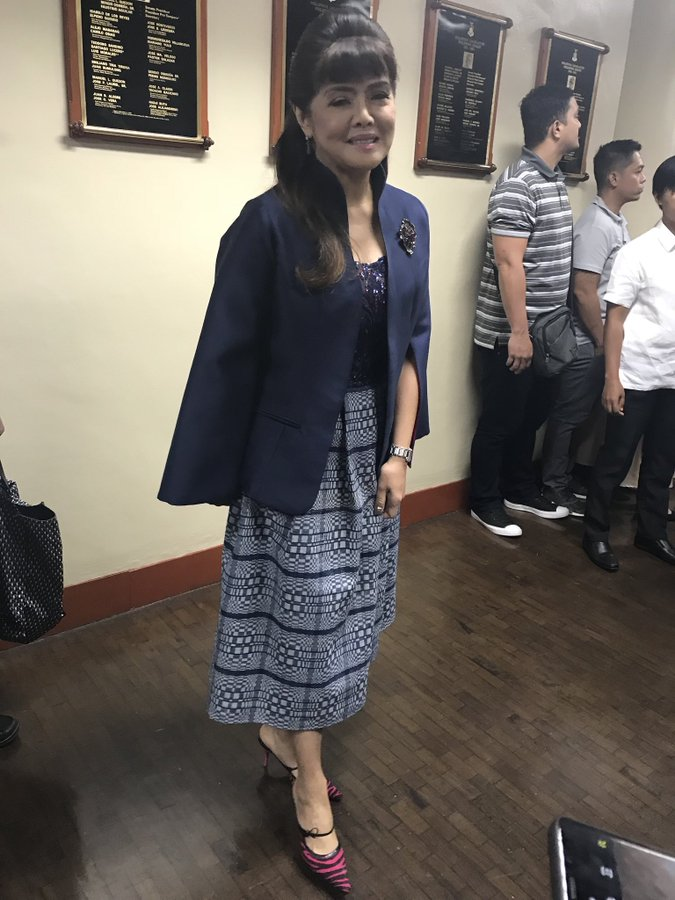 Senator Imee Marcos wearing a Binakol-Inabel dress