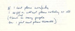 Texto autógrafo de Dylan: 'Si no puedo complacer a todo el mundo no debería complacer a nadie pero (Hay demasiada gente y no puedo complacer a todos)'