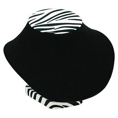 #ND201V-ZR Zebra Print Large Necklace Display Bust