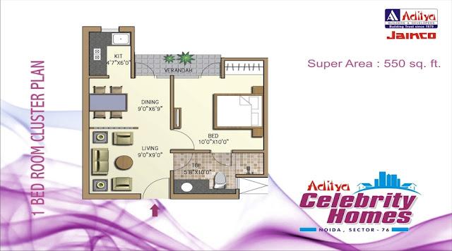 One-BHK-floor-plan-Aditya-celebrity-Homes-sector-76-Noida