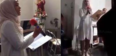 HEBOH, Wanita Berhijab ini Bernyanyi di Dalam Gereja, Lihat Apa Yang DIa Lakukan