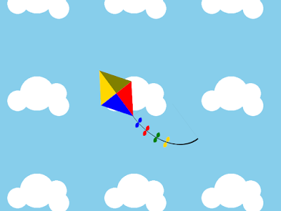 Screenshot of the final product, of the CSS-drawn kite on a cloudy background