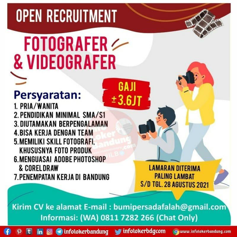 Lowongan Kerja Fotografer & Videografer PT. Bumi Persada Falah Bandung Agustus 2021