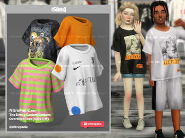 Oversized Tees (KID FM) for The Sims 4