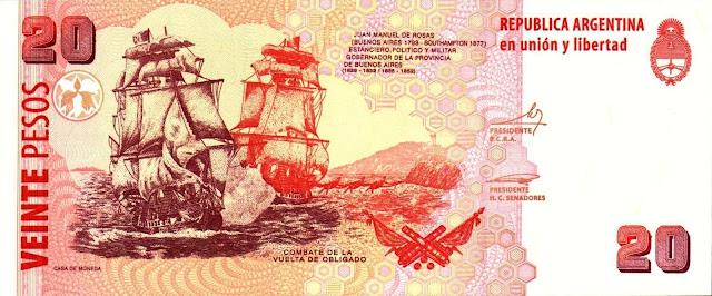 Argentina money currency 20 Pesos banknote 2003 Battle of Vuelta de Obligado