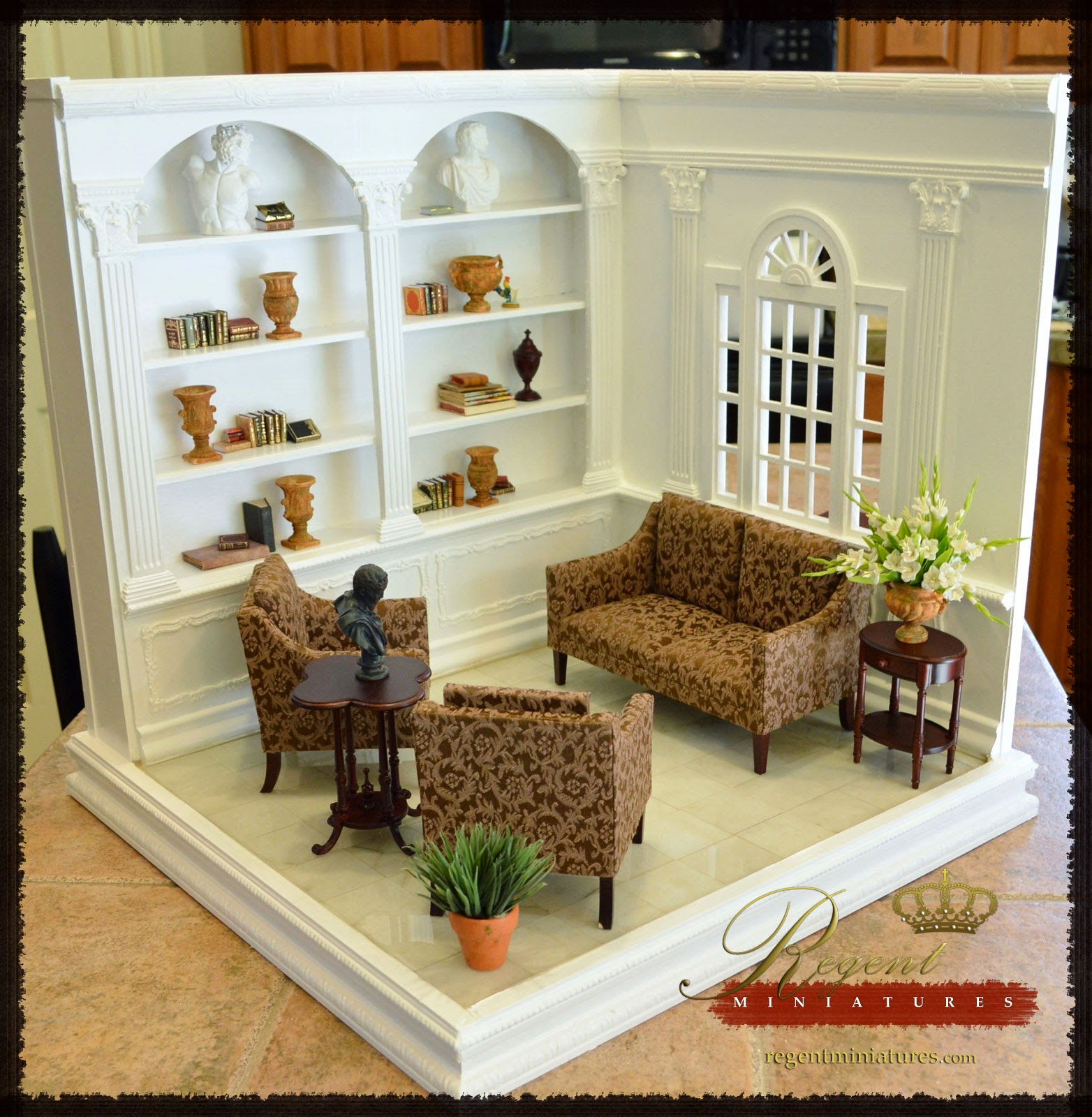 regent miniatures 1 6 scale room box with library coming to ebay. Black Bedroom Furniture Sets. Home Design Ideas